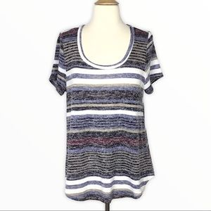 Absolutely Famous | Black Blue Striped Top L
